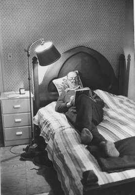 Vladimir Nabokov writing in bed